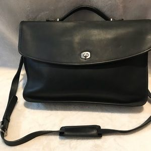 Coach Black Leather Briefcase with Silver Hardware